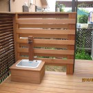 木製ルーバー、木製立水栓