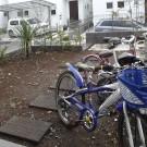 before : 自転車は土の庭に置かれ、いつも雨ざらしになっている。