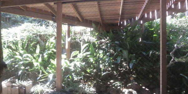 1階のダイニングの窓からデッキの床下を見る。柱の足元は自然石です。
